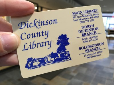 Close-up view of Dickinson County Library card